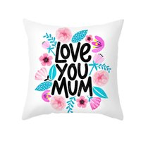 Mother's Day Pillow Case Soft Fabric Flannelette Square 18x18 Inch Floral Printed Cushion Cover for Home Sofa Bedroom Car GGA4360
