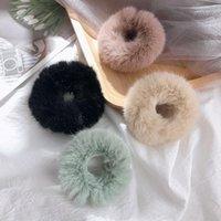 Hair Accessories Furry Warm Elastic HairBand Scrunchie Soft Faux Fur Women Girls Ponytai Holder Rope Rubber Headwear Korea