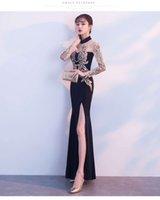 Toast Bridal cheongsam fishtail spring and autumn sexy long sleeve red wedding evening Dress