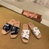 Kadınlar Woody Mules Terlik Tasarımcı Tuval Çapraz Dokuma Sandalet Yaz Açık Peep Toe Rahat Terlik Mektup Stylist 35-41