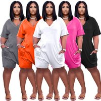 Plus size Jumpsuits Women Rompers S-3XL one piece shorts playsuit summer clothing loose overalls V-neck onesies printed siamese trousers 5 colors leisure wear 4665
