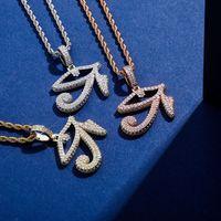 Nouvel œil de collier pendentif Horus avec chaîne de tennis couleur or glacé oil zircone cubique zircone hip hop hip hop bijoux cadeau pour femmes hommes 826 r2