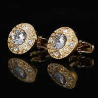 Gold French Mens Shirt links Wedding Gifts Men Jewelry Crystal link Buttons High Quality Luxury Cuff with Box