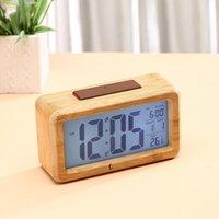 Reloj de alarma digital de madera, Luz de noche Sensor con Snooze Fecha Temperatura Reloj LED Mesa de reloj Relojes de pared OWF7115