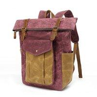 Backpack M381 Dropship Luxury Vintage Canvas Backpacks For Men Oil Wax Leather Travel Large Waterproof Daypacks Retro Bag