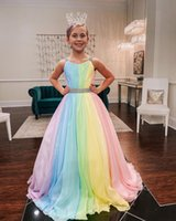 Rainbow Chiffon Little Girl Pageant Dresses 2021 Straps-Neck Girls Prom Gowns Zipper V Back Sleeveless A-Line Long Kids Formal Party Birthday Princess Wear