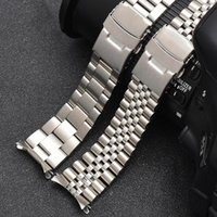 Watch Bands 20mm 22mm Solid Stainless Steel Strap Metal Curved End Men Diving Folding Buckle Wrist Band Bracelet Accessories For