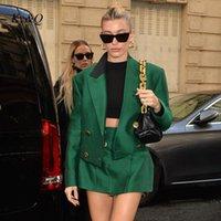 Skirts Fashion Week Trend Green Temperament Short Suit Coat + Skirt Chic Spliced Black Collar Blazers Women Clothes