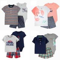 Sommer Baby Jungen Kleidung Set Neugeborenen Kleidung Oansatz Cartoon Dinosaurier T-Shirt + Shorts + Strampler Infant Outfits Neugeborene Kostüm Z1214