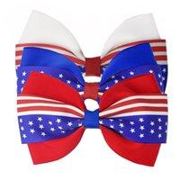 4 인치 헤어 액세서리 7 월 깃발의 4th 깃발 소녀 클립에 대 한 머리 장식 빨간 로얄 흰색 hairbows grosgrain 리본 스타 스트라이프 471 K2