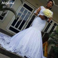 ZJ9184 Appliques Dentelle Mermaid Robes de mariée 2021 manches longues robe de mariée de train perlé plus Taille