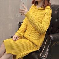 2020 Casual outono vestido coreano manga comprida com capuz sweater de malha malha Mid-Long Solta W138 mulheres sólidas vestidos feminino Qnspa