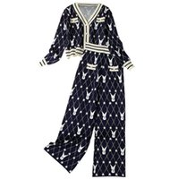 819 2021 Spring Autumn Two Pieces Sets Flora Print V Neck Kint Coat Long Pants Womens Clothes Empire Fashion Casual Prom Dresses Brand Same Style Dress lanyi