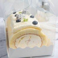 Cadeau cadeau emballage transparent avec poignée de gâteau de fromage en plastique transparent écologique cuisson à pâtisserie suisse ZZA1864 6TLG