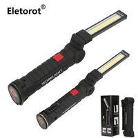 Torcia portatile portatile USB ricaricabile LED Light Light Light Rotazione Clip Magnetico Lanterna per Emergency Outdoor Camping Torcia da campeggio Torc Torce