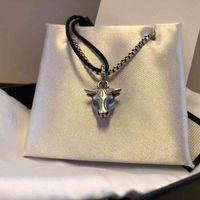 Gujia Tauren S925 zodiac series ins female male couple Fashion Pendant Silver Necklace