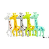 Newnew Giraffe News Silicone Teething Baby Safe Beastant Ожерелье Жевательные бусины Симпатичные Сика Олень Teether Toys Toys Душевые подарки EWF6400