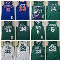Митчелл и баскетбол Ness Paul Pierce Jersey Larry Bird 33 Kevin Garnett 5 Patrick Ewing Ray Allen 34 старинные сшитые зеленый синий