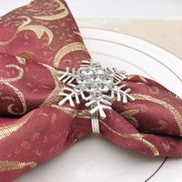 Pcs Snowflake Napkin Rings Silver Sparkling Buckles Metal Holders Dinning Table Setting For Casual Or Formal Occ