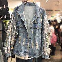 Spring Heavy Industry Sequins Denim Jacket Women Loose Jeans Coats Outwear Holes Girls Lady Cowboy Jackets Streetwear Women's