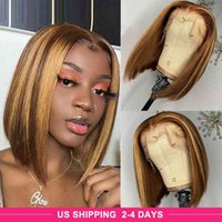 Allove Highlights 4 27 Ombre Straight Bob 4x4 Lace Closure Human Hair Wigs Natural Color human hair lace front wigs Pre-Plucked