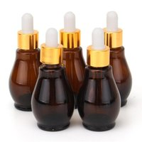 5pcs Gourd- shaped Amber Glass Dropper Bottle With Eye Pipett...