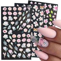 1 ADET Beyaz Pembe Kabartmalı 5D Sticker Nail Art 3d Akrilik Kazınmış Çiçek Kelebek Oymak Manikür Lehçe Çıkartması LY5D-K Çıkartmalar Aralık