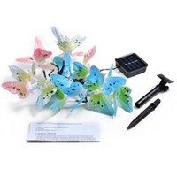 12/20 LED Solar Butterfly Borboleta Fibra Óptica Fada String-Luzes À Prova D 'Água Do Natal Ao Ar Livre Jardim Decoração Decoração Luzes