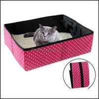 CAT Parts Home Gardencat Перевозчики, Дома для ящики Дома для мусора Практический Складной Творческий Складной Портативный Pet Dot Pattern Pain Pan Out Out