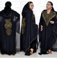 Super Size Style African Women's Dashiki Fashion Drill Beads Lengthened Cape Hooded Long Dress 837 Ethnic Clothing