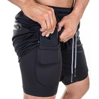 Sports shorts men's loose large size multi-pocket double-layer quick-drying pants outdoor running training basketball