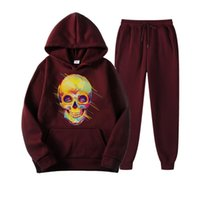 Men's Tracksuits Mens 2 Piece Sets Hoodies Pants Sweatshirt Sweatpants Brand Logo Printing Men Set Pocket Skull Printed Hip Hop Pullover Hoo