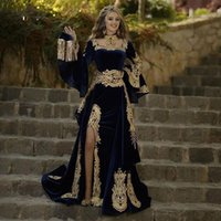 Caftan Evening Dresses 2 Pieces Remove Skirt Appliques Gold Lace Long Sleeve Mermaid Velvet Prom Celebrity Gowns