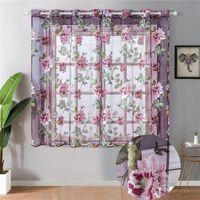 Flores cortina de tule para cozinha sala de estar quarto puro cortinas casa decoração porta banheiro tratamentos de janela de voile painel drapees