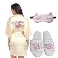 Women's Sleepwear Sexy Satin Kimono Mother Of Bride Robes With Oblique V-Neck Wedding Party Dressing Gown For Women