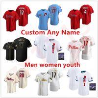 2021 Juego de All-Star Jersey Baseball Jersey Filadelfia 3 Bryceharpe 17 Rhys Hoskins 10 JT RealMuto Hombres Mujeres Jóvenes Cualquier nombre Número Phillies Jerseys cosido