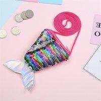 Cauda de peixe em forma de miúdos sacos bicolor lantejoulas crianças oblíqua saco saco de longa pendurado corda moeda bolsa 2 5sm j2