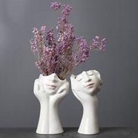 Nordic Woman Human Face Dried Flower Vases for Decoration Ceramic Hydroponic Plant Flower Pots Flower Arrangement Ornaments