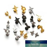 Punk Stainless Steel Earrings For Men Women Gothic Rockets Arrow Stud Earrings Finger Cool Prevent Allergy Gold Puncture Earring