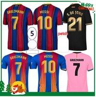 Messi Ansu Fati Sports Soccer Jersey 20 21 Griezmann de Jong Pjanic COUTINHO Camisa de fútbol Barcelona Hombres adultos + Kit Kids Tukameng2016