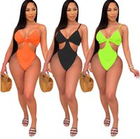 Verano Mujeres Color Color One Piece Swimwear Sexy Traje de baño Moda Hallow Out Bathing Suit Onesie Bikini Bodycon Swimsuits D148