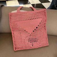 Senhora Grande saco de palha de vinho de coco de vinho sacola mulheres bolsa de compras de alta qualidade crochet bolsa