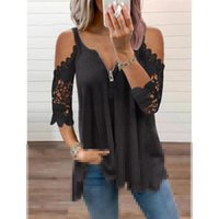 Women's T-Shirt Sexy Hollow-Out Lady Fashion Tops Women Casual Clothes Pullover Long Sleeve V-neck Loose Tshirts Zipper Plus Size TeeShirt F