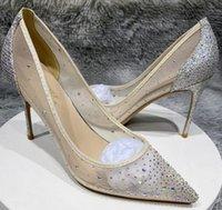 Luxusmarke Designer Frauen Kleid Schuhe Rote Bottoms High Heels 8 cm 10 cm 12 cm Plus Größe Euro45 Spitzzehen Pumps Sommer Neue Pailletten Mesh Strass Braut Brautjungfer