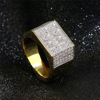 Vecalon Punk Hiphop Rock anillo para hombres Pave Ajuste 119pcs 5a Zircon CZ Amarillo oro relleno 925 Silver Male Party Band Anillos