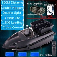 New RC Fishing Bait Boat H18 With 3pcs Boat Battery Free Bag& Car Charger Double Silo Fixed Speed Cruise Control 500m Distance 210323