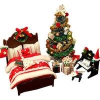 Hediye Paketi DIY Dollhouse Ahşap Bebek Evleri Minyatür Mobilya Seti Oyuncaklar Çocuk Yılı Noel Için