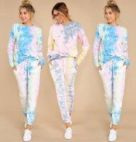 Sonbahar Eşofman Kadınlar Baskı Kravat Boya O-Boyun Uzun Kollu Gömlek + Pantolon Kadın Capris için İki Parçalı Set Sportsuit Kıyafetler