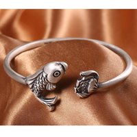 Wholesale Free Size Fish With Lotus Bracelet Water Lily And Carp Bangle Ship--12Pcs Lot