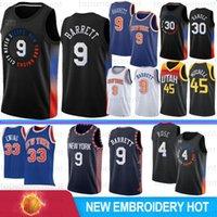 RJ 9 Barrett Erkekler Basketbol Jersey Patrick 33 Ewing Mesh Retro Julius 30 Randle Erkek Derrick 4 Gül Siyah Formalar Camisetas de Baloncesto